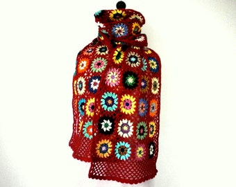 stole shawl crochet granny in red and multicolor wool