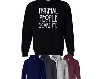 Normal People Scare Me Hoodie Hood Horror Mens Womens Ships Worldwide S-XXL