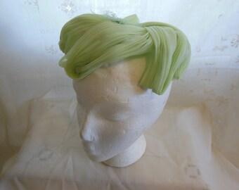Green Chiffon 60s Era Hat