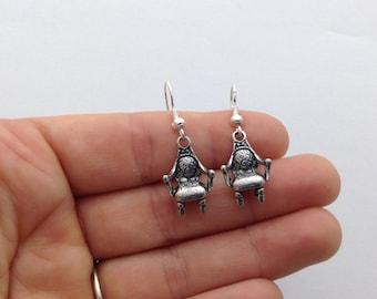 Vintage Chair Tibetan Silver Dangle Earrings