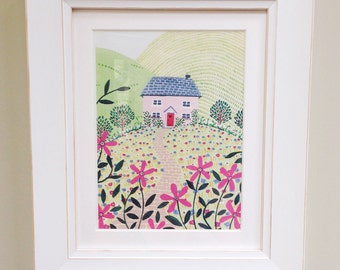 Pink Cottage, Art Print