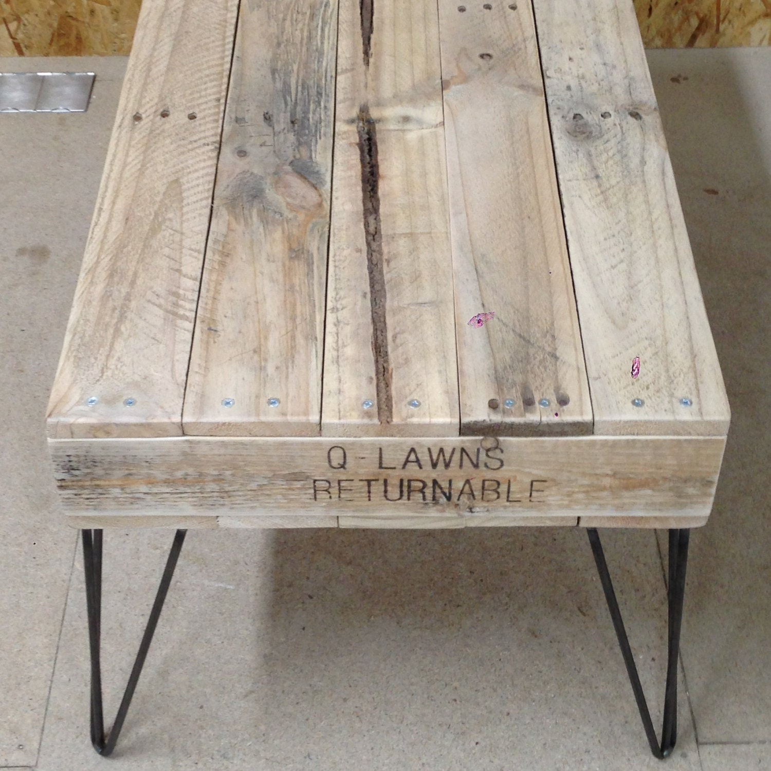 Reclaimed Pallet Dining Table And Bench Hairpin Legs By: Reclaimed Pallet Wood Coffee Table With Hairpin Legs