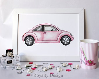 Fashion illustration print - Pink car, wall art