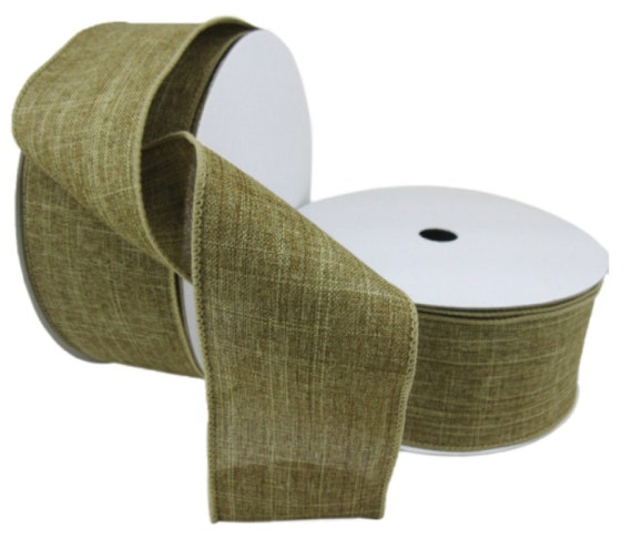 Ribbon Burlap Rustic Faux Linen 2 5 Wired Edge Spring Beach