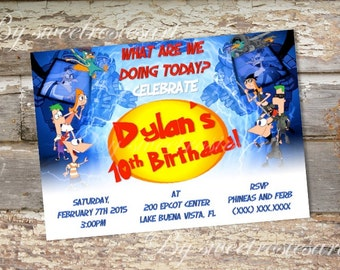 Phineas and Ferb Birthday Invitation / digital / printable/ custom made
