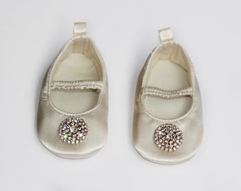 Baby Shoes Satin Shoes Christening Shoes Ivory Shoes Ballet Shoes Flat Crib Shoes Flower Girl Shoes