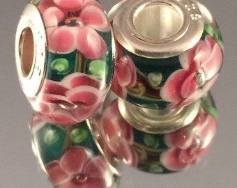 Murano Glass Bead - .925 Sterling Silver Core - Green With Pink Flowers - #M114
