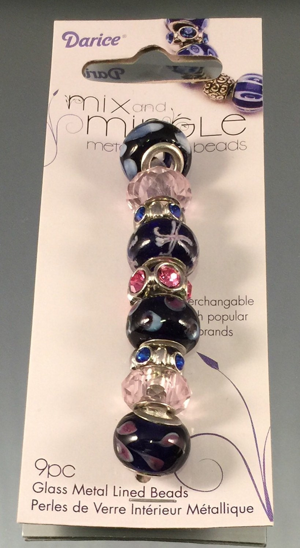 mix amp mingle large hole bead metal lined black pink