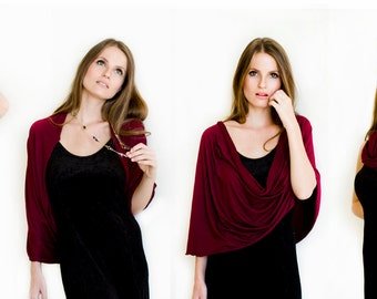 Burgundy Shawl. Loop Versatile Casual Cover Up, Woman Clothing, Fashion Shrug For Her, Comfortable Top, After Yoga Cover Up Jacket  (BS121)