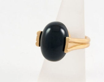 Black Onyx Ring, Solitaire Ring, 18K Gold Plated Ring, Black Onyx Gold Ring, Gold Rings for Women, Unique Rings, Onyx Stone