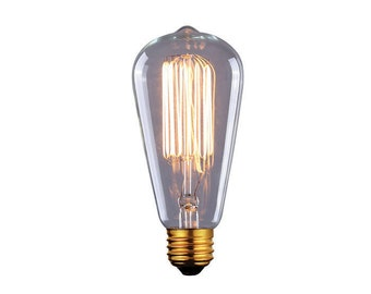 Vintage Edison bulb, clear glass, E26, ST45 cone shape