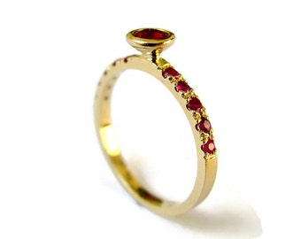 Unique Ruby Ring, Yellow Gold Ring with Rubies, Delicate Engagement Ring, 14k gold ring and ruby, for Woman