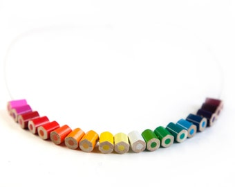 lupidupi colored pencil necklace - rainbow colors - novelty teacher gift