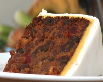 Rich Traditional British Fruit Cake with Fondant and Marzipan.