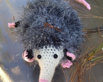 Crochet eyelash fur Opossum bag