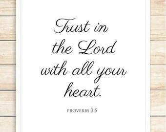 Trust In The Lord Print, Christian Wall Art, Bible Verse, Nursery, Typographic Print, Home Decor, Interior Decor, Script, coffeeandcoco