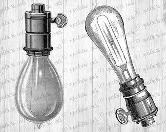 Vintage Edison Lamp Light Bulb Illustration - Steampunk Lightbulbs Collage Clipart - Digital Printable Image - Instant Digital Download