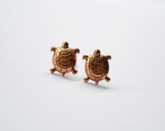 Little Turtles Copper Post Earrings, Gift Idea for Her,  Vintage Copper Earrings Studs