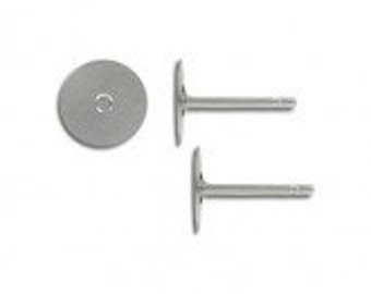 10-100pcs--Earring Posts, Stainless Steel, 8mm (B48-4)