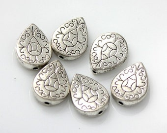 10pcs--Flat Bead, Teardrop, Antique Silver, 10x12.5mm (B7-3)
