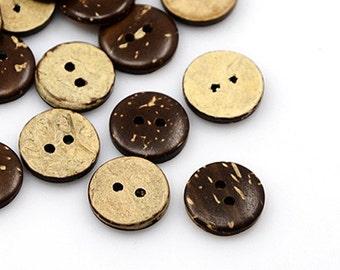 10pcs--Wood Button, Select a Size (B27-10)