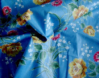 Wonderful vintage BLUE POLISHED COTTON 10yds 36 inches wide unused ready for you