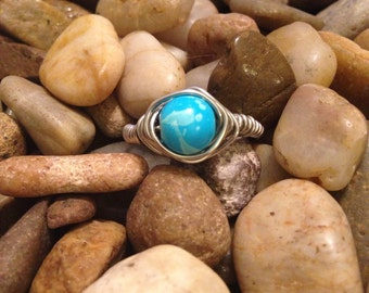Silver Wire Wrapped Speckled Teal Ring - Can be made in ANY size!