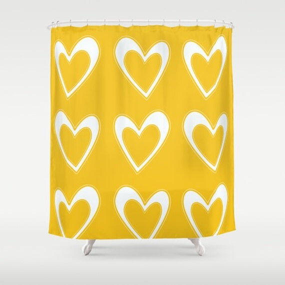 Designer shower curtain yellow bright shower by for Bright yellow bathroom accessories