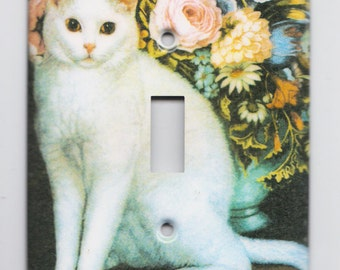 White Cat and Flowers Single Toggle Metal Switch Plate