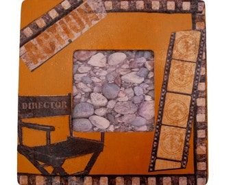 Movie inspired, decoupage picture frame.Golden painted, directors chair and film reel makes unique gift.Decorative paper napkin decoupage.