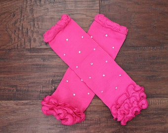 BLING Hot Pink Baby Leg Warmers with Rufflles, Baby Leg Warmers, Pink Rhinestone Leg Warmers,  Baby Leggings