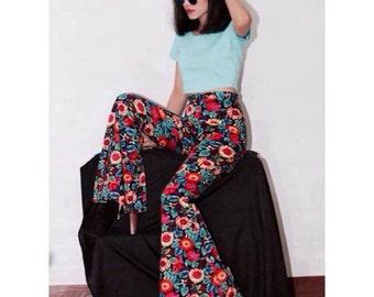 Flower print  bell bottoms High waist pants All size