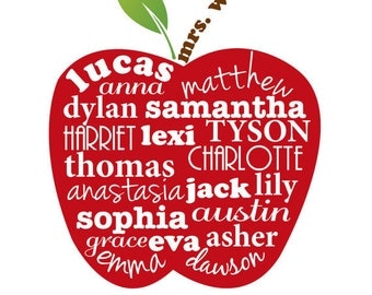 Teacher Present Thankyou Gift Class Children's Names Personalised ART ONLY