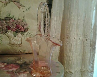 Antique Pink Glass Basket