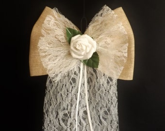Wedding Church Pew Decorations - Pew End Bows - Vintage Shabby Chic  Rose - Lace - Burlap x 10