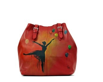 Hand Painted Fine Grain Leather Purse - Nur Fancy Ballerina Red Shoulder Bag by Lyria.ro