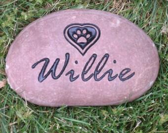 """Personalized Pet memorial stone 7"""" river rock"""