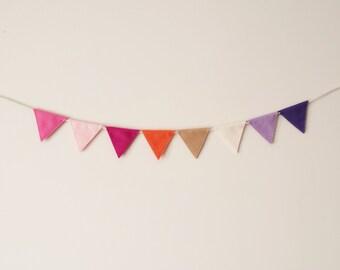 Mini Felt Garland, Pink Tone, Girls Garland, Triangle Garland