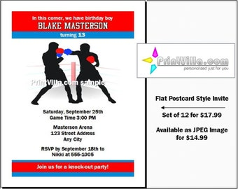 Boxing Birthday Party Invitations Set of 12