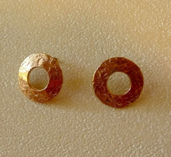 Round bronze earrings with gold-filled posts