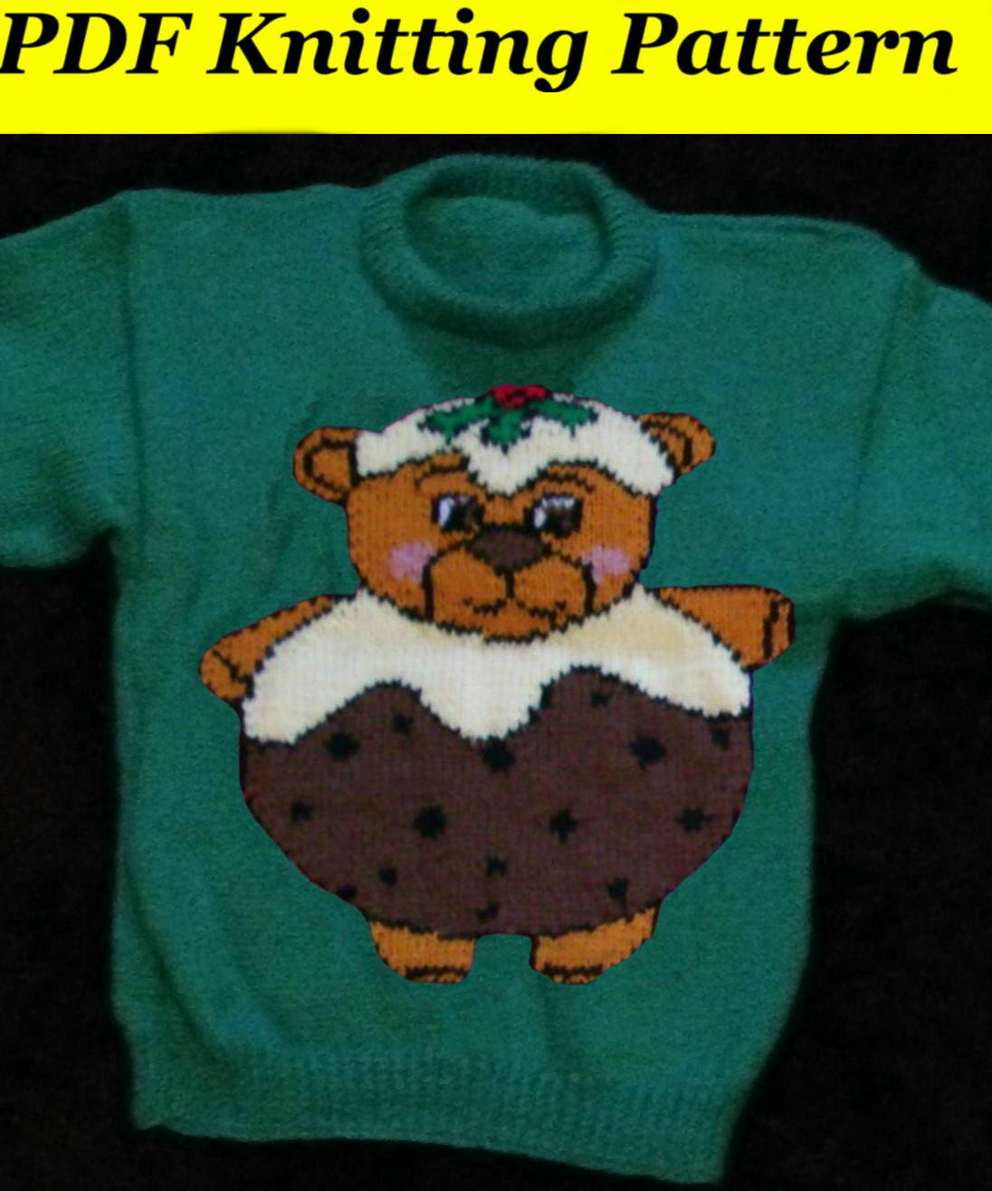 Childrens & Adults Christmas Pudding Teddy Bear Jumper / Sweater Knitting...