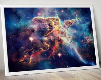 Outer Space Art, Astronomy Space Poster - Hubble Carina Nebula Nasa Poster - Galaxy Poster, Galaxy Print