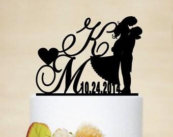 Initial Cake Topper,Wedding Cake Topper, Personalized Wedding Cake Topper, Acrylic Decoration-I010