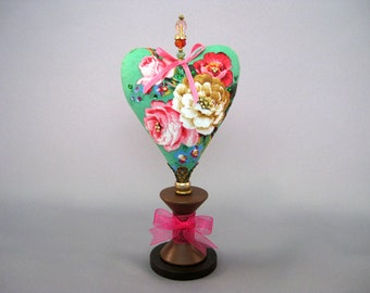 Heart Pincushion with Vintage Roses, Green