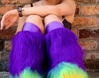 Fluffy furry leg warmers neon plain faux fur lots of colours rave punk goth cozy plur fluffies rave gogo two tone