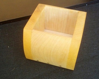 Opened Ended Box made of Maple, Yellowheart and Brass