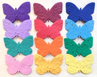 20-200 Plantable Paper Butterflies - Flower Seed Wedding Favors - Seed Paper Butterfly - Place Cards - Bulk Butterfly Memorial Favor