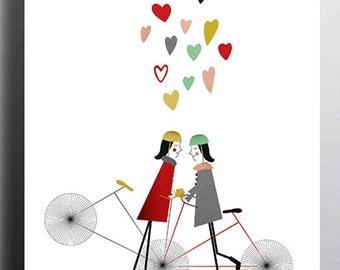 Girl Bike Love Giclee Illustration Print