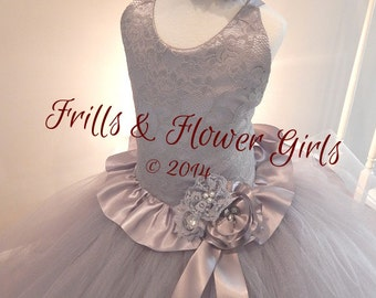 Grey Flower Girl Dress or Silver Lace Halter Tutu Dress Flower Girl Dress Sizes 12 Mo up to Girls Size 12