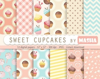 "Cupcake digital pattern: ""CUPCAKE DIGITAL pattern"" with cupcake patterns, cupcake digital background for scrapbooking, card, gift wraps"